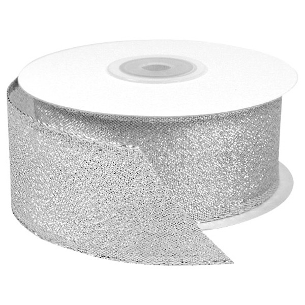 Silver Metallic Wired Ribbon