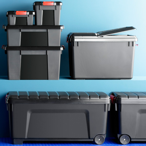 store it all trunk with wheels the container store. Black Bedroom Furniture Sets. Home Design Ideas
