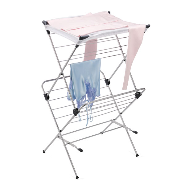 2-Tier Mesh-Top Drying Rack Silver