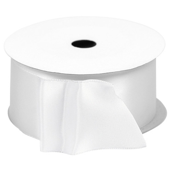 White Single-Faced Satin Wired Ribbon