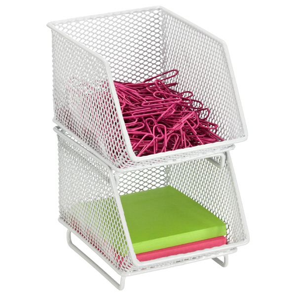 White Mesh Mini Stacking Bin