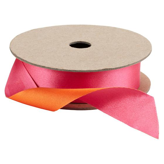 Fuchsia & Orange Double Satin Ribbon