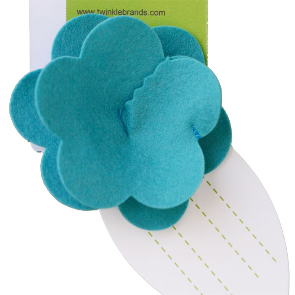 Felt Flower Tie-On Aqua