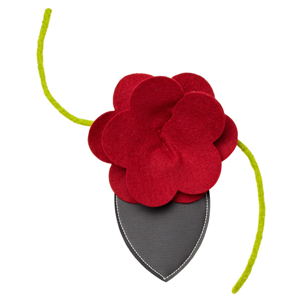 Felt Flower Bottle Tie-On Red