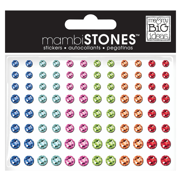 Rhinestone Stickers Assorted Bright Multi Pkg/96