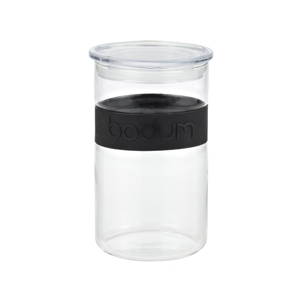 1 qt. Presso Glass Canister Black Band