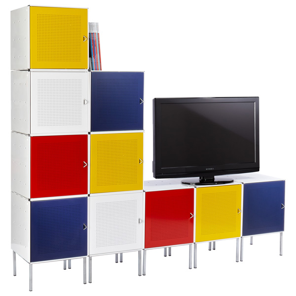Enameled QBO® Mondrian Steel Cube Media Center