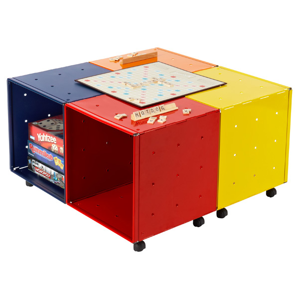 Enameled QBO® Steel Cube Kid's Game Table