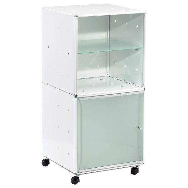 QBO Steel Cube Bedside Table Enameled White
