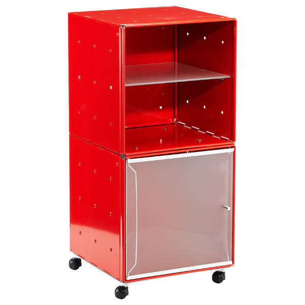 QBO Steel Cube Bedside Table Enameled Red
