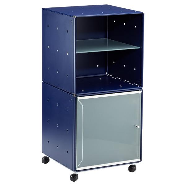QBO Steel Cube Bedside Table Enameled Blue