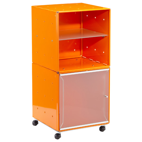 QBO Steel Cube Bedside Table Enameled Orange