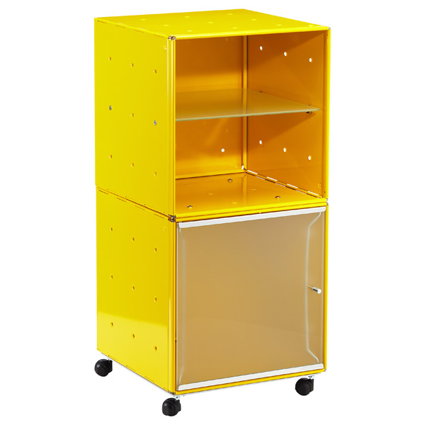 QBO Steel Cube Bedside Table Enameled Yellow