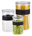 Black Band Presso Glass Canisters
