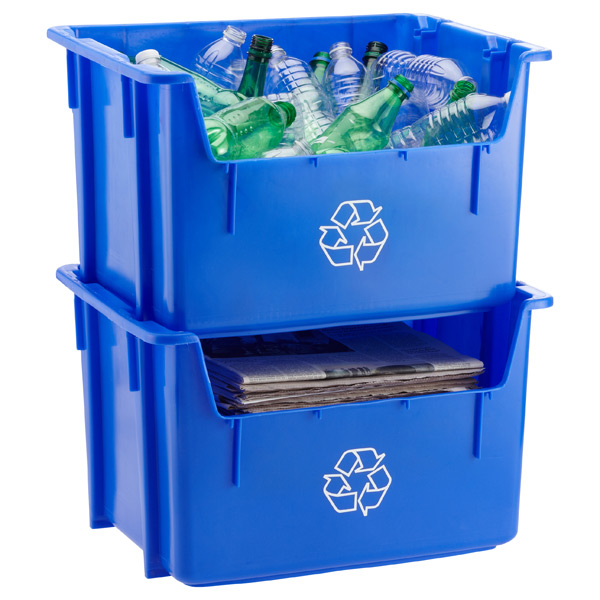 Blue Stacking Recycling Bin