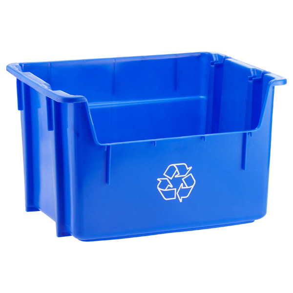 12 gal. Stacking Recycling Bin Blue
