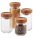 Artisan Glass Canisters with Oak Lids
