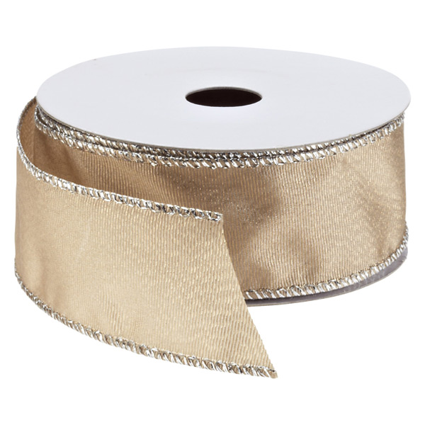 Ribbon Wired Shimmer Grosgrain Taupe
