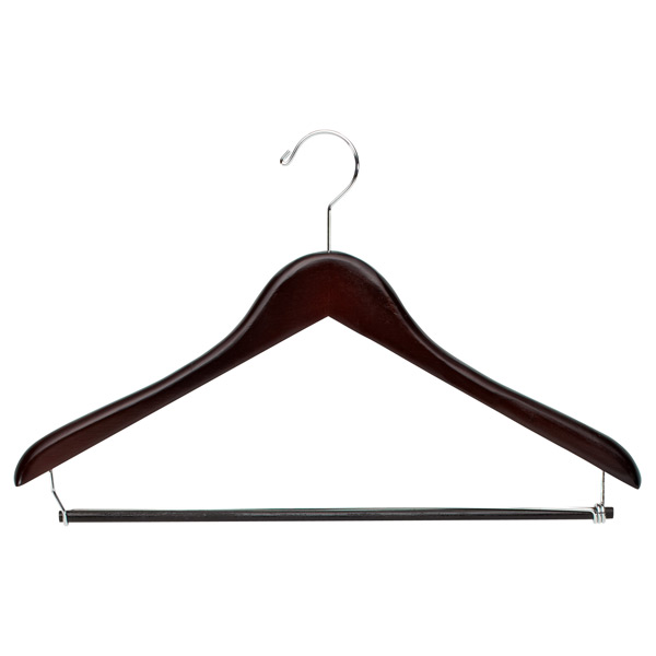 Premium Hanger with Trouser Bar Walnut