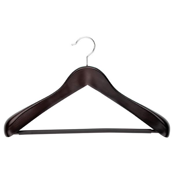 Superior Coat Hanger with Ribbed Bar Walnut