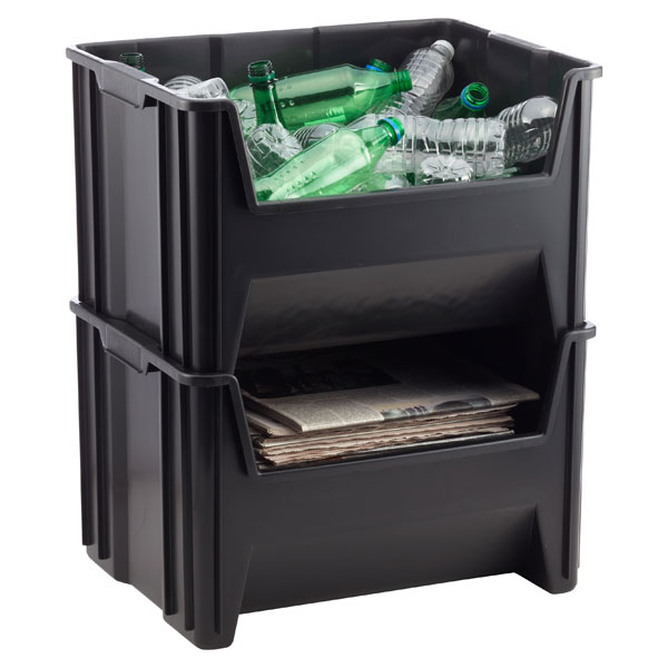 Black Stacking Recycling Bin