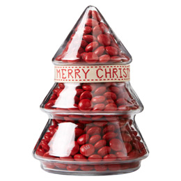 Red Christmas Tree Glass Jar Gift