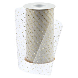 White Tulle Ribbon with Gold Dots