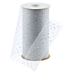 White Tulle Ribbon with Silver Dots