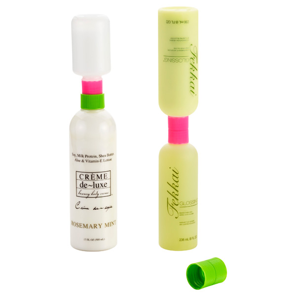 Lotion Saver Bottle Couplers Pink/Green Pkg/3