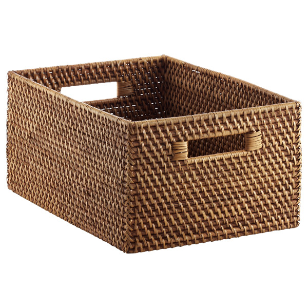 Large Rattan Bin Copper