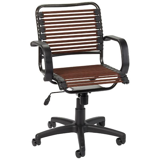 Chocolate Flat Bungee Office Chair with Arms