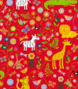 Gamba Animals on Red Gift Wrap