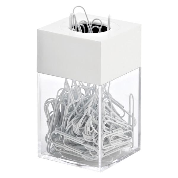 Paper Clip Dispenser & Clips White