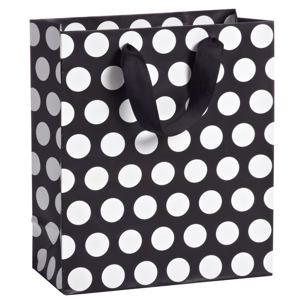 Medium Flapper Dots Tote Black/White