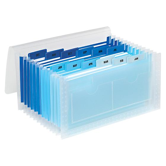 Blue 13-Pocket Accordion Receipt File