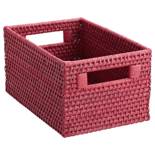 Small Rattan Bin w/ Handles Pink