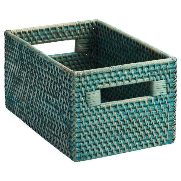 Small Rattan Bin w/ Handles Turquoise