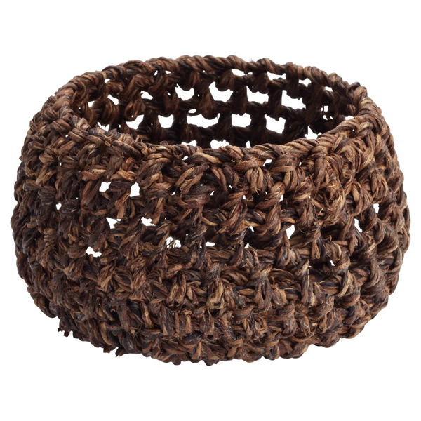 Round Abaca Bowl Dark Brown