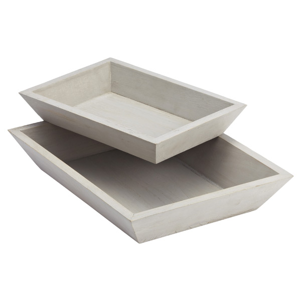 Whitewashed Wood Tapered Trays