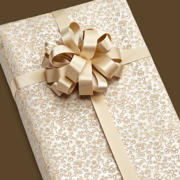 Embossed Silver Brocade Gift Wrap Sheet
