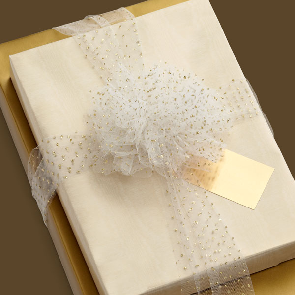 Gold Moiré Reversible Gift Wrap