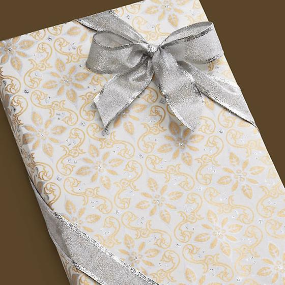 Glitter Gold & Silver Scroll Gift Wrap Sheets