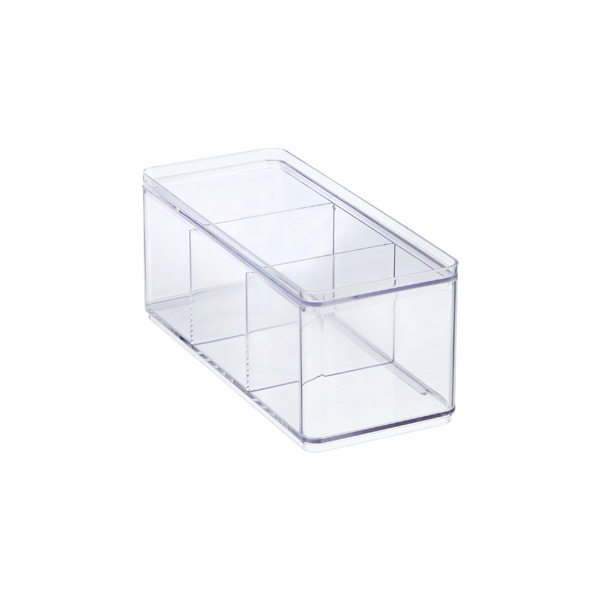 3-Compartment Narrow Stackable Rectangle Clear