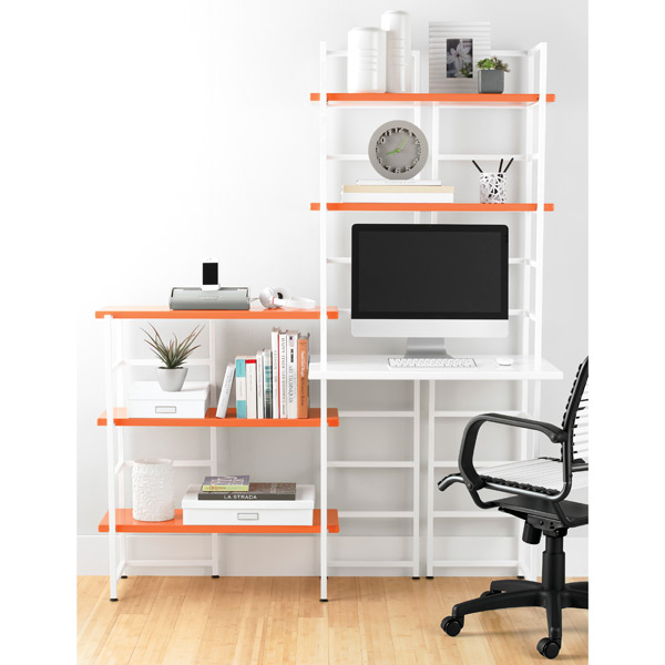 white connections extended desk shelf the container store. Black Bedroom Furniture Sets. Home Design Ideas