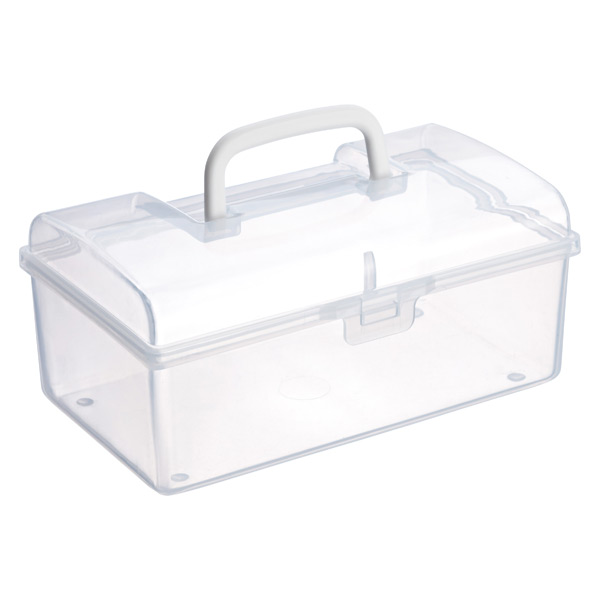 Large Mini Storage Box w/ Handle Clear