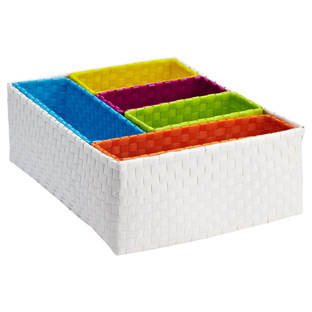White Rectangular Color Block Bins