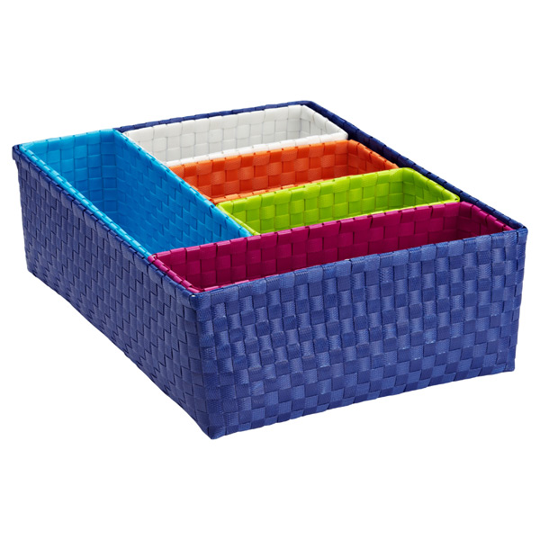 Blue Rectangular Color Block Bins