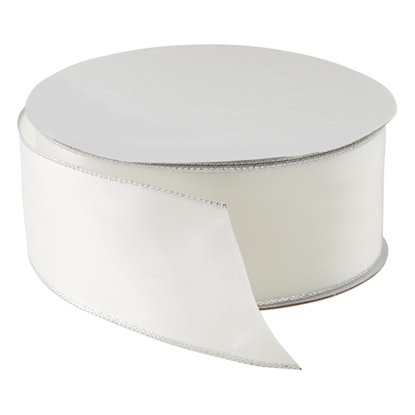 Silver-Edged White Satin Ribbon