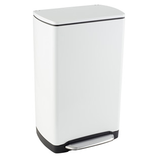 simplehuman 10 gal. White Rectangular Wide-Step Can