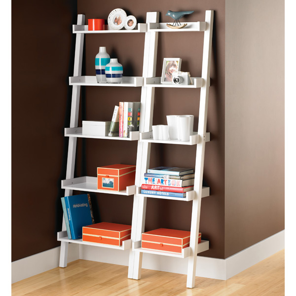 White Linea Narrow Leaning Bookcase